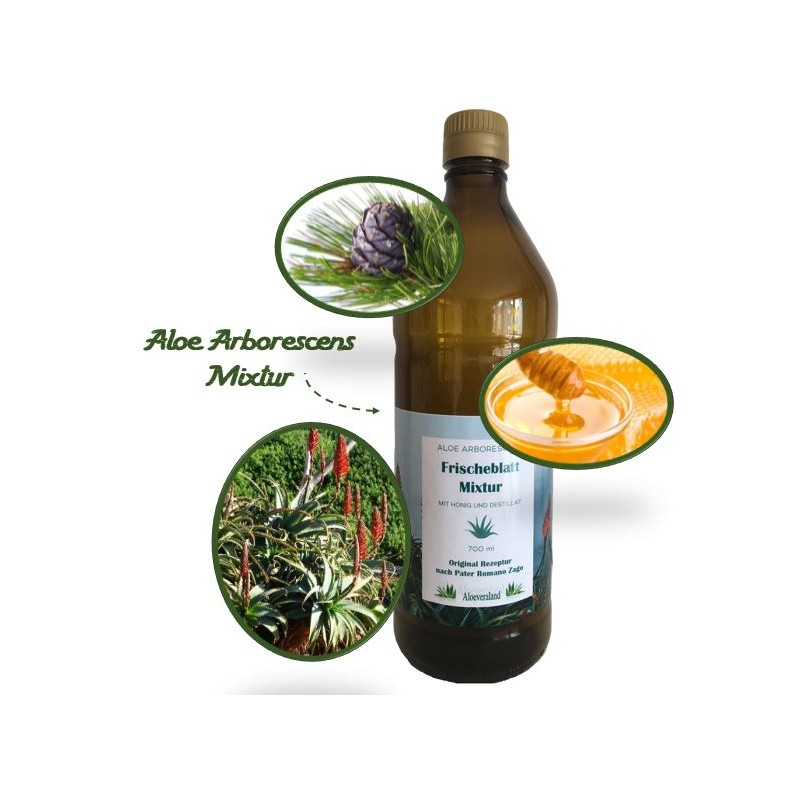 """Aloe Mixtur """"Honey-Zirbe"""" aus Aloe Arborescens, Honig und Zirbenschnaps in der Glasflasche"""