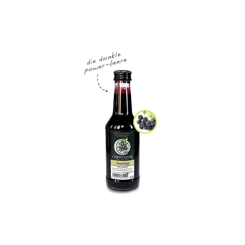 Aroniasaft in der 250 ml Glasflasche, Direktsaft direkt vom Obstbauern